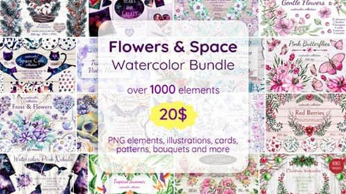 مجموعه عظیم طرحهای بدون پس زمینه گلهای آبرنگی