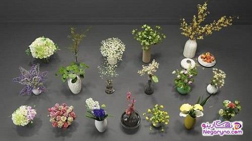 مدل سه بعدی گیاه و گلدانهای مدرن